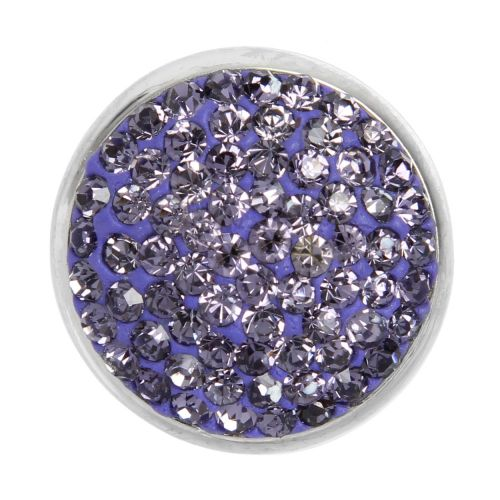 Silver Plated Interchangeable Snap On Disk Pave Purple Crystal 20mm Pk1
