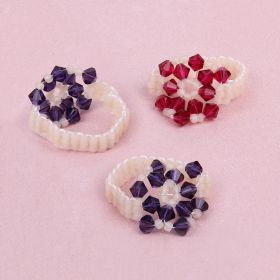 Pink and Purple Forget Me Knot Ring Kit made with Swarovski - Makes x4