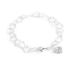 Ready To Wear Sterling Silver 925 Heart Charm and Chain Bracelet
