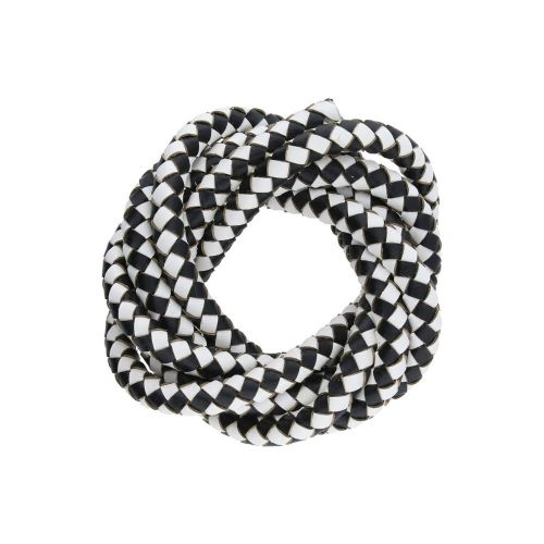 Leather cord / natural / round / braided / 6mm / black-white / 1m