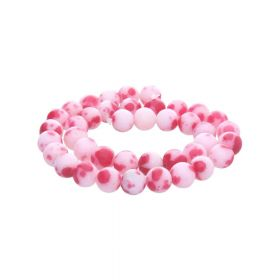 Jade / round / 12mm / red-white / 34pcs