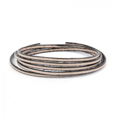 Stone Flat Genuine Leather Cord 3mm Pre Cut 1metre