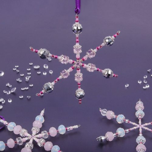 X-Pink Beaded Snowflake Home Decor Kit - Makes Multiple