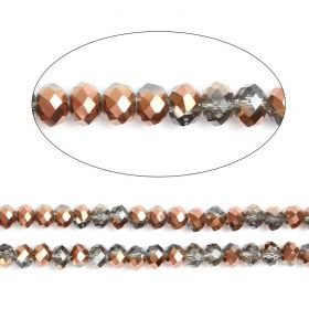 "Bronze 1/2 Coated Essential Crystal Glass Faceted Rondelle Beads 8mm 16""Strand"