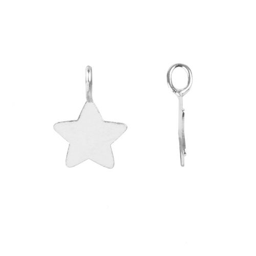 X Sterling Silver 925 Tiny Star Charm with Loop 8x11mm Pk2