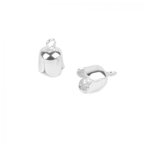 Sterling Silver 925 6mm End Cap with Ring Pk2