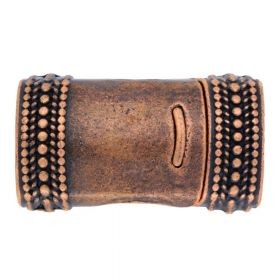 Magnetic clasp / curved with pattern / 26x15x10mm / antique copper / 10x7mm hole / 1pcs