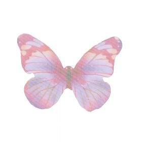 Butterfly wings / organza / 31x43mm / pink-blue / 4pcs