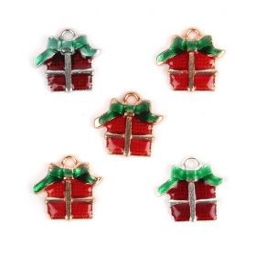 Red and Green Gift Box/Parcel Xmas Charm 16mm Pk5