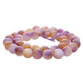Agate / faceted round / 10mm / purple-white-honey / 35pcs