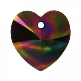 6228 Swarovski Crystal Heart Pendant 17.5x18mm Crystal Rainbow Dark Pk1