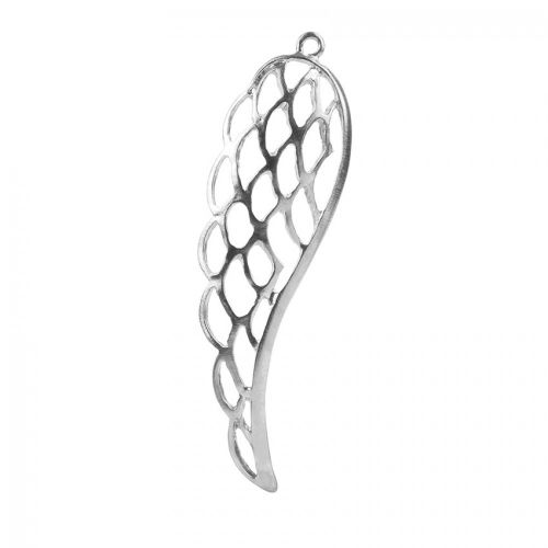Antique Silver Single Large Angel Wing Charm 21.5x70mm Pk1