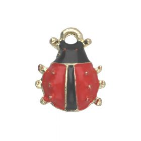 SweetCharm ™ Ladybird  / charm pendant / 12x10x3mm / gold plated / red / 2pcs
