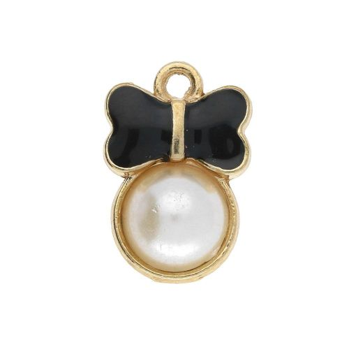 SweetCharm ™ Butterfly / charm pendant / 15x10x4mm / gold plated / black / 2pcs