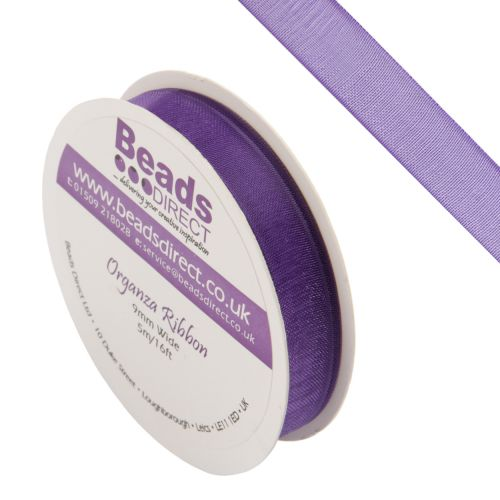 X- Purple Organza Ribbon 9mm Sold on a 5metre Reel