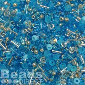 'Summer Skies' Seed Bead Mix Assorted Sizes/Shapes 10g