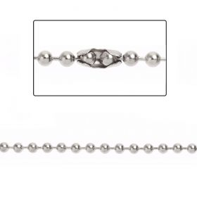 Rhodium Plated Brass 3mm Ball Chain with 2 Clasps 1metre