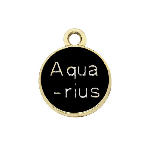 SweetCharm™ Zodiac sign aquarius / charm pendant / 15x12x1.5mm / gold-black / 1pcs