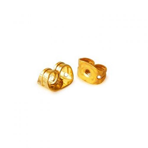 Gold Plated Earring Back/Base 4x6x3mm 1x Pair