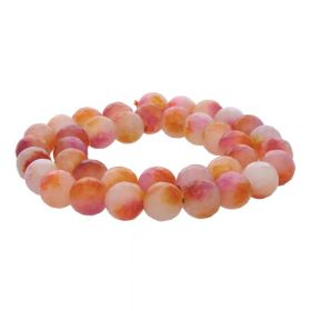Agate / faceted round / 10mm / pink-white / 35pcs