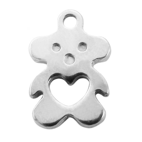 Teddy bear with heart / pendant / surgical steel / 11x7mm / silver / hole 1.5mm / 4pcs