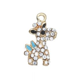 Glamm ™ Giraffe / charm pendant / with zircons / 21x13x4mm / gold plated /  Crystal / 1pcs