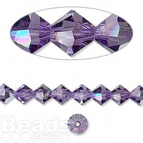 X-5328 Swarovski Crystal Bicones Xillion 6mm Tanzanite AB Pk24
