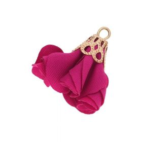 Satin Flower / with an openwork tip / 26mm / Gold Plated /amaranth / 2 pcs