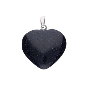 Night Cairo (synthetic) / pendant / heart / 33x25x5mm / 1pcs