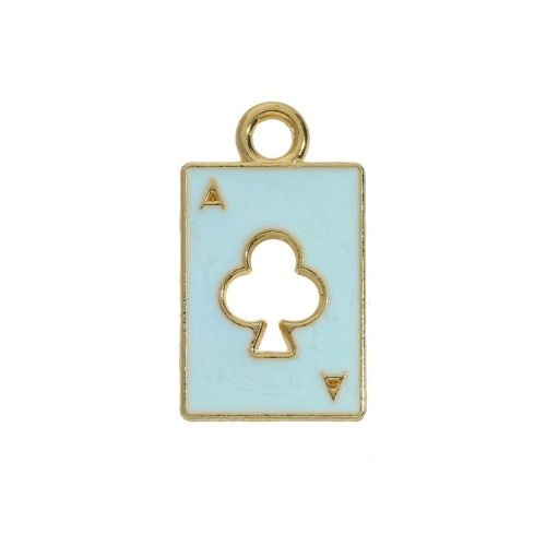 SweetCharm ™ Ace of clubs / charm pendant / 18x11x2mm / blue / gold plated  / 2pcs