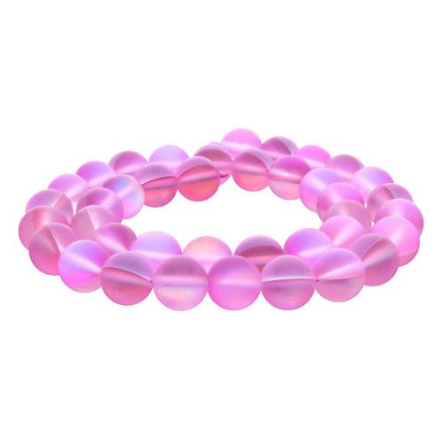 Cubic Zirconia (synthetic) / matte / round / 10mm / pink / 38pcs