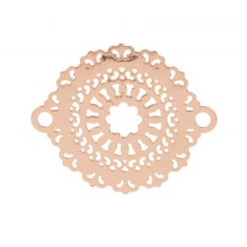 Rose Gold Plated Filigree Flower Connector Charms 18x23mm Pk10