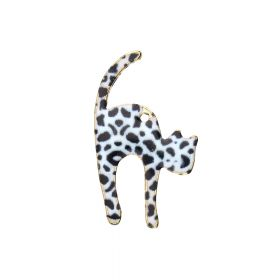 SweetCharm™ stretching cat / charm pendant / 30x18x2mm / gold plated / leopard print / 2pcs