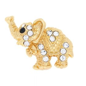 Glamm ™ Elephant / charm pendant / with zircons / 21x26x6mm / gold plated / crystal / 1pcs