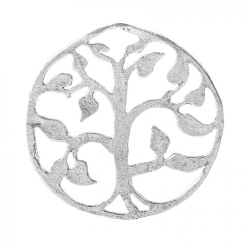 Silver Plated Brushed Filigree Round Pendant 43mm Pk2