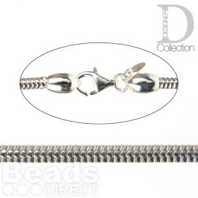 Sterling Silver 925 Bracelet Snake Chain 3mm with Lobster Clasp 18.3cm