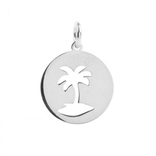 Sterling Silver 925 Cut Out Palm Tree Charm 13mm Pk1