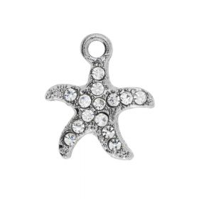 Glamm ™ Starfish / charm pendant / with zircons / 15x13x2mm / silver plated / Crystal / 2pcs