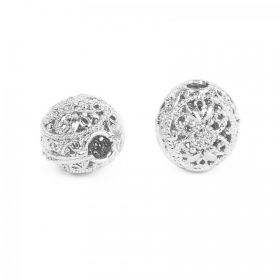 Silver Plated Hollow Filigree Hole Beads 12x15mm Pk2