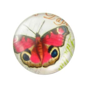 Glass cabochon with graphics 20mm PT1517 / pink / 2pcs