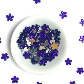 Acrylic / flat back / flower / embellishment / purple / 9x1mm / ~5g