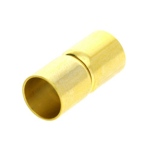 Magnetic clasp / surgical steel / dumbbells / 19x6x6mm / gold / hole 5mm / 1pcs