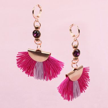 Raspberry Tassel Earrings