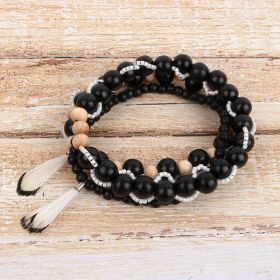 Black Wooden Feather Bracelet Stack TAMB Kit