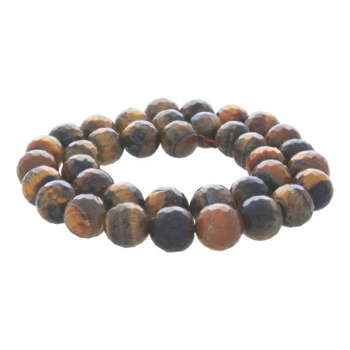Tiger's eye / faceted round / 8mm / 46pcs