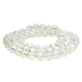 CrystaLove™ crystals / glass / faceted round / 8mm / lemon / transparent / iridescent / 65pcs