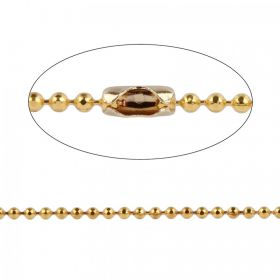Gold Plated Diamond Cut Ball Chain 1.5mm with 10x Clasps 1metre