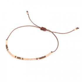 Brown & Multi Miyuki Seed bead Bracelet Adjustable Pk1