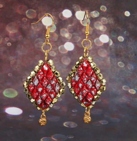 Red and Gold Diamond Earrings