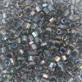 Toho Size 8 Hex Seed Beads Transparent Rainbow Grey 10g